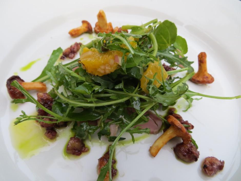 Duck, arugula, mushroom salad at The Anchor.